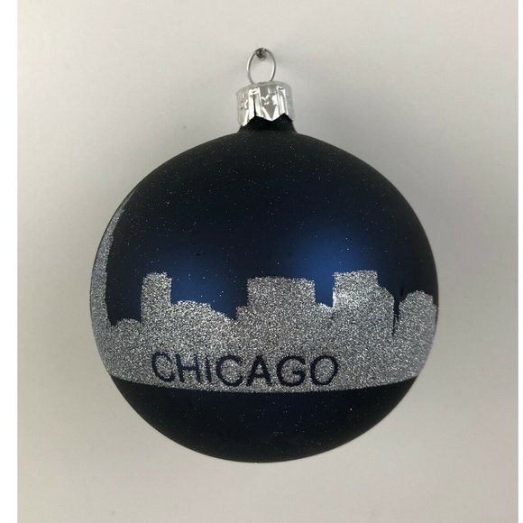 None Other - Christmas Glass Ball Ornament Chicago Skyline